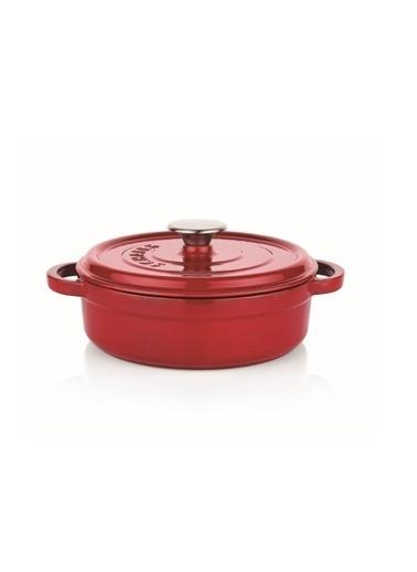 Schafer Guss Chef Döküm Basık Tencere 28 Cm-Kırmızı Kırmızı